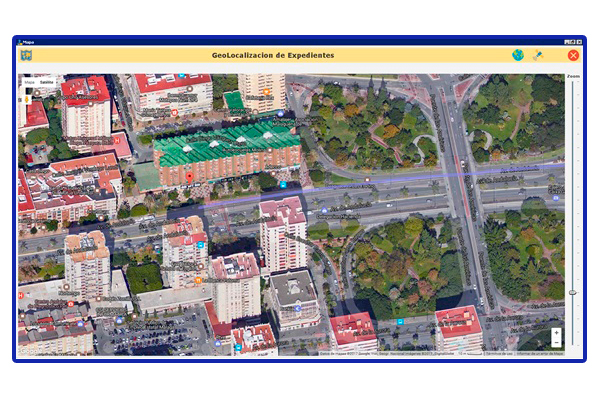 Vista aplicación Pangea. Geolocalización en visión satélite.
