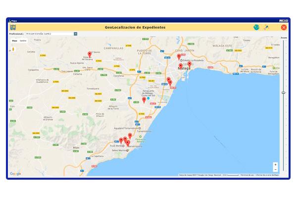 Vista aplicación Pangea. Geolocalización de todos los usuarios.