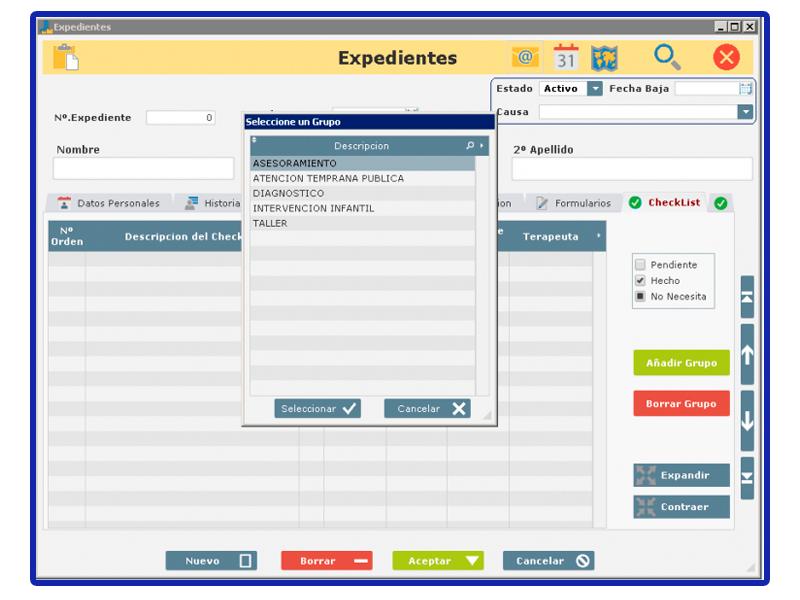 Vista aplicación Pangea. Apartado Checklist.